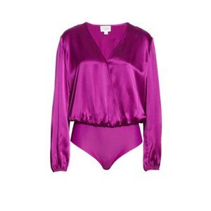 CAMI NYC Purple Silk V Neck Bodysuit Satin Blouse